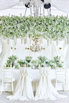 Green Floral Canopy with Crisp White Table Setting | Wedding Inspiration | White Wedding |