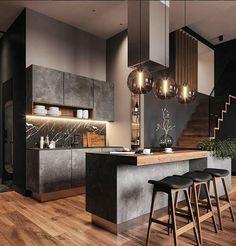 27 minimalist and modern kitchen decor you will love it 1 - Home Decor Interior Black Kitchens, Cool Kitchens, Small Kitchens, Modern Kitchens, Dream Kitchens, Modern Kitchen Design, Interior Design Living Room, Best Kitchen Designs, Modern Design