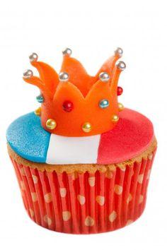 Koninginnedagcupcakes; de bovenkant van deze cupcake is natuurlijk een perfecte aanvulling op de rood-wit-blauwe muffin van Berries@Home
