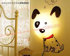Cute Dog Wall Lamp With Wall Sticker, Children Room Decoration DIY Wall Sticker Lamp, 4 designs $19.99