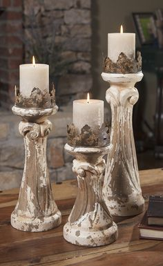Feliciano Hand Carved Wood Candleholders - Set of 3 - This set of three hand carved wood Feliciano candleholders mix a regal look with antiqued finishes to add character to any room. Candle Holder Decor, Wooden Candle Holders, Candle Lanterns, Pillar Candles, Chandeliers, Crown Centerpiece, Decoration Shabby, Candle Stand, Antique Metal