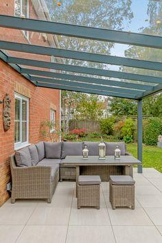 Aspire glass roof veranda from SunSpaces. Modern veranda design - perfect for outdoor relaxation! Request your FREE veranda quote today. Outdoor Garden Rooms, Garden Awning, Garden Canopy, Patio Canopy, Outdoor Pergola, Pergola Kits, Gazebo, Backyard Patio Designs, Small Backyard Landscaping