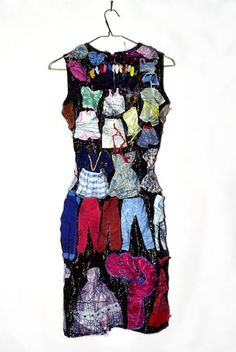 "Mary Tuma ~ ""Embedded"" (1992) Found dress, Barbie clothes and shoes, thread *life size*"
