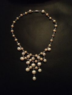Diy pearl and silver necklace