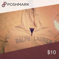 Ralph Lauren Hoodie White Hoodie with 3/4 sleeves. Used but no stains, rips, or tears. Ralph Lauren Tops Sweatshirts & Hoodies