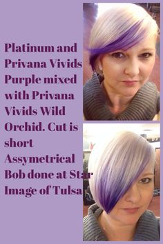 Short Assymetrical bob platinum blonde (Wella Blondor) with Privana Violet and Privana Wild Orchid done at Star Image of Tulsa