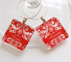 Red Damask Bride & Groom Wine Glass Charms.