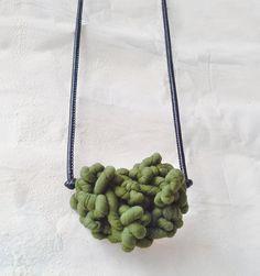 Super curly necklace with eco-leather cord di AlmaLadra su Etsy