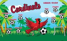 Cardinals B53361  digitally printed vinyl soccer sports team banner. Made in the USA and shipped fast by BannersUSA.  You can easily create a similar banner using our Live Designer where you can manipulate ALL of the elements of ANY template.  You can change colors, add/change/remove text and graphics and resize the elements of your design, making it completely your own creation.