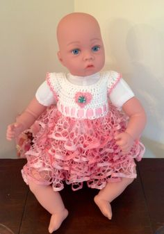Crochet ruffle baby dress. Newborn