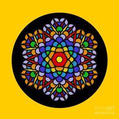 Digital Art Photography, Abstract Photography, Image Photography, Wall Art Prints, Canvas Prints, Kaleidoscopes, Mandala Coloring, Yellow Background, Rainbow Colors