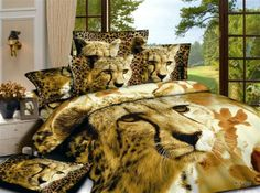 Brown Lion animal print bedding set for queen size bedspread duvet cover bed in a bag sheet cotton home texi 3d Bedding Sets, Cotton Bedding Sets, Bedding Sets Online, Queen Bedding Sets, Cotton Duvet, Comforter Sets, Leopard Bedding, Animal Print Bedding, Bed Quilts