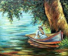 Woman in a Boat by Pierre Auguste Renoir-Art gallery oil painting. Large Wall Art, Canvas Wall Art, Wall Art Prints, Pierre Auguste Renoir, Canvas Paintings For Sale, Oil Paintings, Art Gallery, Modern Oil Painting, Renaissance Paintings