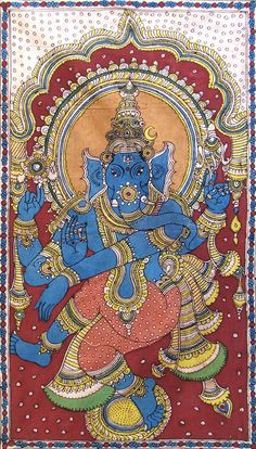 Dancing Ganesha as Nataraja (Kalamkari Paintings on Cotton - Unframed))