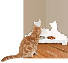 White Corner Cat Feeding Station – Cat Food Bowls Set & Stand – Cat Dishes