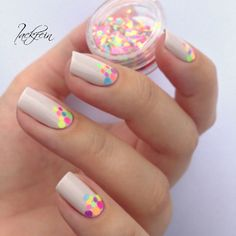 Simple but beautiful neon glitter placement nails by @lackfein !❤️