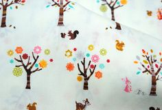 Japanese Fabric Forrest animal print white by beautifulwork, $4.50