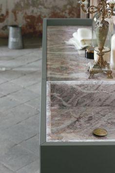 top e vasca integrata in marmo fior di pesco