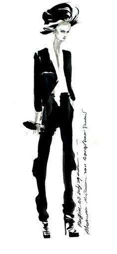 Fashion illustration - ink drawing; stylish fashion sketch // Mengjie Di