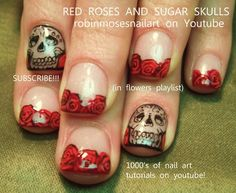 dia de los muertos nail art | dia de los muertos sugar skulls and rose nail art | Things I love