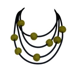 olive green long necklace fall fashion avant garde jewelry