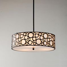 @Overstock - This beautiful ceiling chandelier features a sleek, black finish and ultra-modern beige shade with a black circle pattern. This modern pendant chandelier is the perfect way to add style to any room.http://www.overstock.com/Home-Garden/Indoor-3-light-Black-Pendant-Chandelier/5142978/product.html?CID=214117 $101.99