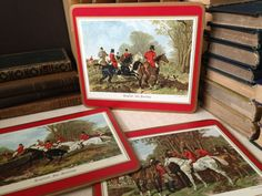 Vtg England // Pimpernel Cork Backed Placemats // Set of 3 // Equestrian