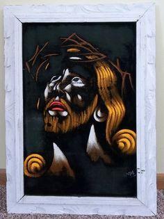 RETRO Vintage 1970's Black Velvet Jesus Christ Original Painting signed