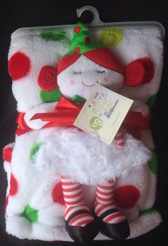 Baby Gear Christmas Girl Doll Security Blanket Lovey Baby NWT Stripes & Dots 2pc #BabyGear
