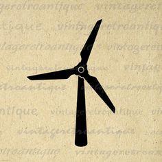 Wind Turbine Digital Graphic Download Printable Wind Energy Image Vintage Clip Art Jpg Png Eps 18x18 HQ 300dpi No.3990 @ vintageretroantique.etsy.com