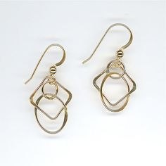 Earrings Chain Link Gold Circles Squares Ovals, Gold Wire, Wire Earrings, Wire Jewelry, Simple Earrings, Gold Earrings, Modern Earrings  $21.95