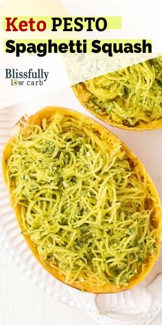 A delicious keto spaghetti squash recipe. This low carb side dish is bursting with fresh flavors! Veggie Recipes Healthy, Best Vegetarian Recipes, Healthy Dinners, Delicious Recipes, Low Carb Recipes, Free Recipes, Healthy Snacks, Pesto Spaghetti Squash, Spaghetti Squash Recipes