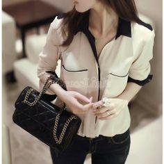 Estilo OL Slim Mujer Empalme color de manga larga camisa de la gasa de la blusa