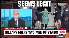 Best Hillary Helps Two Men Up Stairs Memes Dankest Memes, Funny Memes, Funny Ads, Conservative Memes, Fbi Director, Media Bias, Liberal Logic, Man Up, Humor
