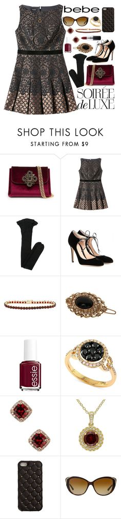 """""""Soirée de Luxe with bebe Holiday: Contest Entry"""" by orange-seltzer on Polyvore featuring Bebe, Yves Saint Laurent, Gianvito Rossi, Gioelli Designs, L. Erickson, Essie, Effy Jewelry, 2Me Style, Bulgari and MAC Cosmetics"""