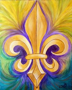 Fleur de lis in purple and gold - great for LSU fans!