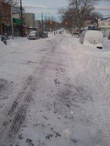 Astoria, New York after a heavy snow.