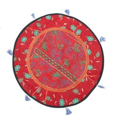 Indian Red Patchwork Handmade Oversized Round Floor Custion Boho Traditional Wall Hanging Table Cover by PrintBlockStamps on Etsy