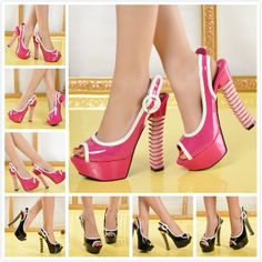 New 2014 women sexy peep toe black/pink patent leather slingbacks high heels party shoes,designer women summer platform pumps  $95.40