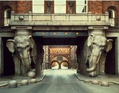 Elephant statues guard the entrance to the Carlsberg Brewery in Copenhagen