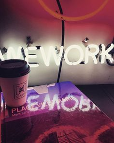 PLACE VILLE MARIE #Co-Working by WeWork #Canada >>... Co Working, Colorful Interiors, Cloud, Canada, Neon, Graphic Design, Spaces, Art, Craft Art