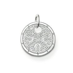 """THOMAS SABO Sterling Silver Glam & Soul Pendant """"ornament"""". Article number: PE432-051-14. ornament -Pendant with eyelet -925 Sterling silver -white zirconia The arabesque disc is an absolute trend piece with its modern cut-outs in Sterling silver. Perfect when accented with onyx or mother-of-pearl discs of the SPECIAL ADDITION collection.  Size: 2.2 cm. USD 198"""