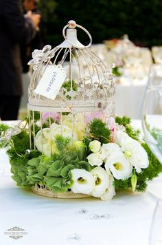 Love the birdcage arrangement!