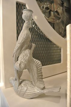 """Hand-Painted Grey """"Bird Stack"""" Porcelain Candle Holder (2 on display in showhouse) .... $225 / sold as pair only"""