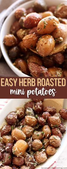Slow cooker herb roasted garlic potatoes are one of my favorite side dishes. These are perfect for any weeknight dinner and your family will enjoy the velvety tenderness in every bite! #potatoes #herbroastedpotatoes #roastedpotatoes #sidedishrecipes #sidedish Crockpot Side Dishes, Best Side Dishes, Side Dish Recipes, Healthy Dinner Recipes, Vegetarian Recipes, Dishes Recipes, Potato Recipes, Fall Recipes, Delicious Recipes
