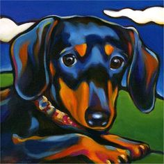 Dog and Cat Art Commissions by Marna Schindler Dachshund Tattoo, Arte Dachshund, Dachshund Love, Daschund, Paint Your Pet, Animal Art Projects, Weenie Dogs, Aggressive Dog, Dachshund