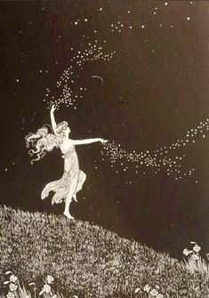 Ida Rentoul Outhwaite illustration: Fairy Beauty Scattering Stars from The Enchanted Forest Illustrations, Illustration Art, Alphonse Mucha, Wicca, Magick, Witchcraft, Art Inspo, Fantasy Art, Cool Art