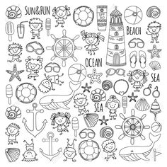 Coloring page beach set with children's school vacation, small kids, nursery, sea, Drawing Journal, Doodle Art Journals, Halloween Doodle, Halloween Drawings, Fall Coloring Pages, Animal Coloring Pages, Flower Pattern Drawing, Visual Thinking, School Vacation