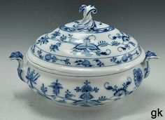 Exquisite Antique Meissen Soup Tureen Blue Onion Pattern Oval ...