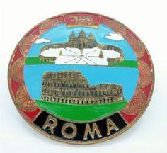 Vintage Brass Enamel Car Grille BadgeRoma Italy City of Rome Classic Retro Automobilia Fiat Alfa Ferrari #FollowVintage